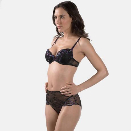 AUBADE Culotte haute Femme Romantique Noir Vénus