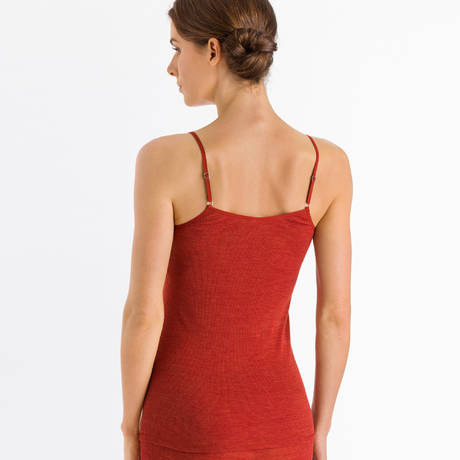 HANRO Caraco en laine et soie Woolen Lace Rusted Red