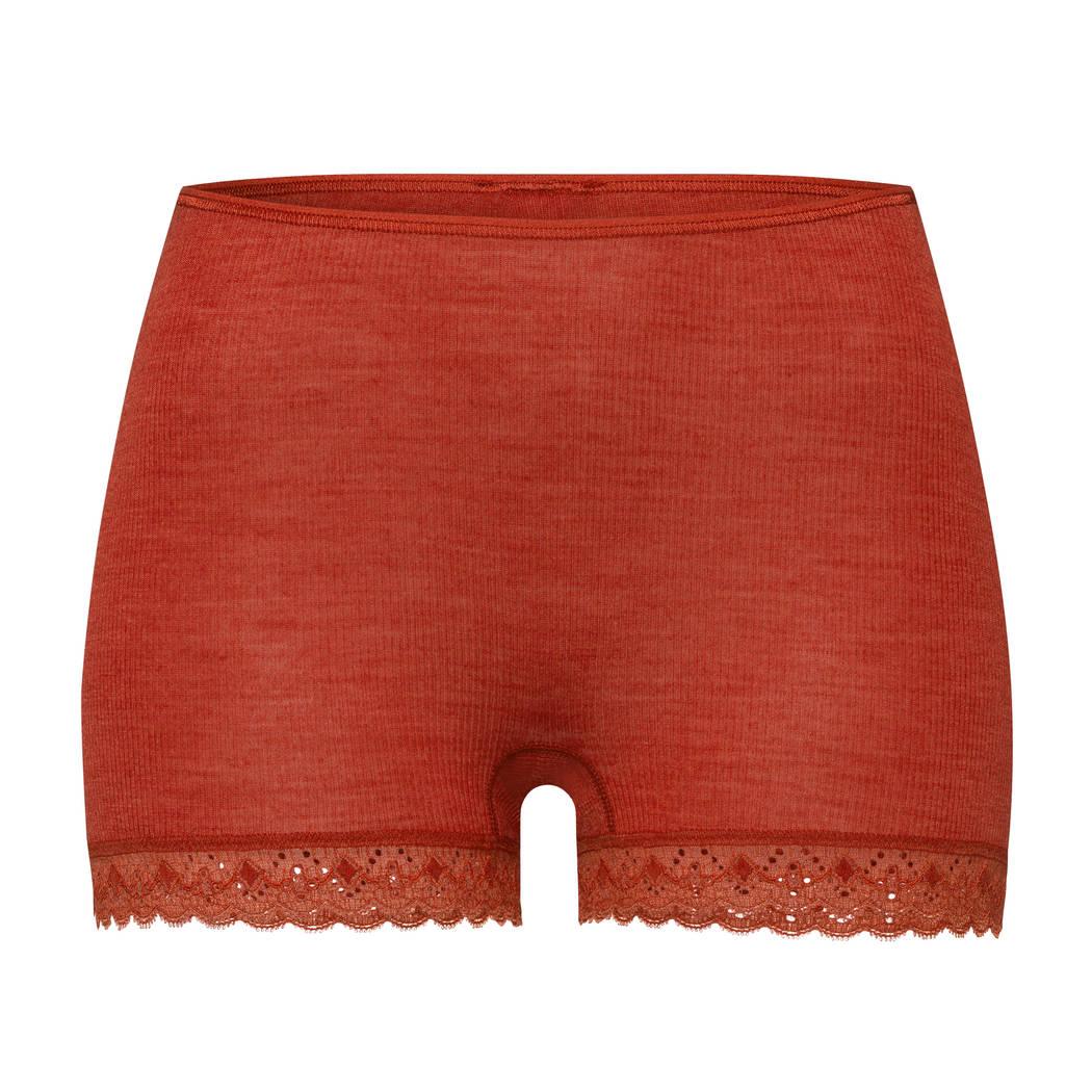 HANRO Short en laine et soie Woolen Lace Rusted Red