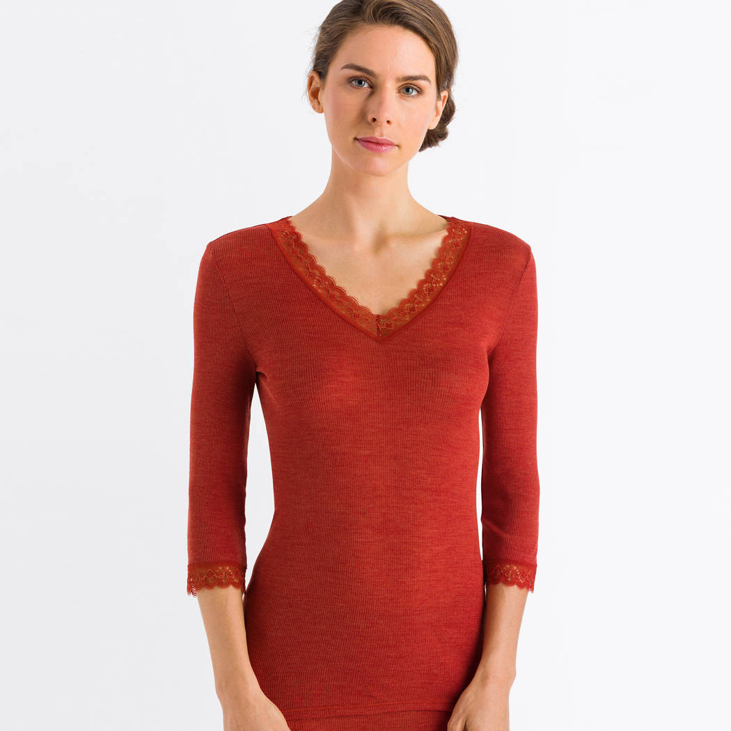 HANRO Top manches 3/4 en laine et soie Woolen Lace Rusted Red