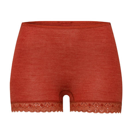 HANRO Short en laine et soie Woolen Lace Rusted Red