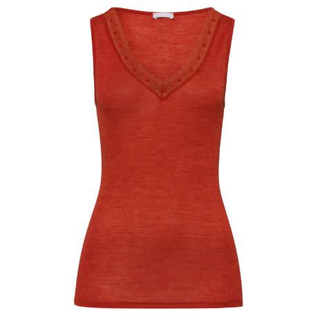 HANRO Top en laine et soie Woolen Lace Rusted Red