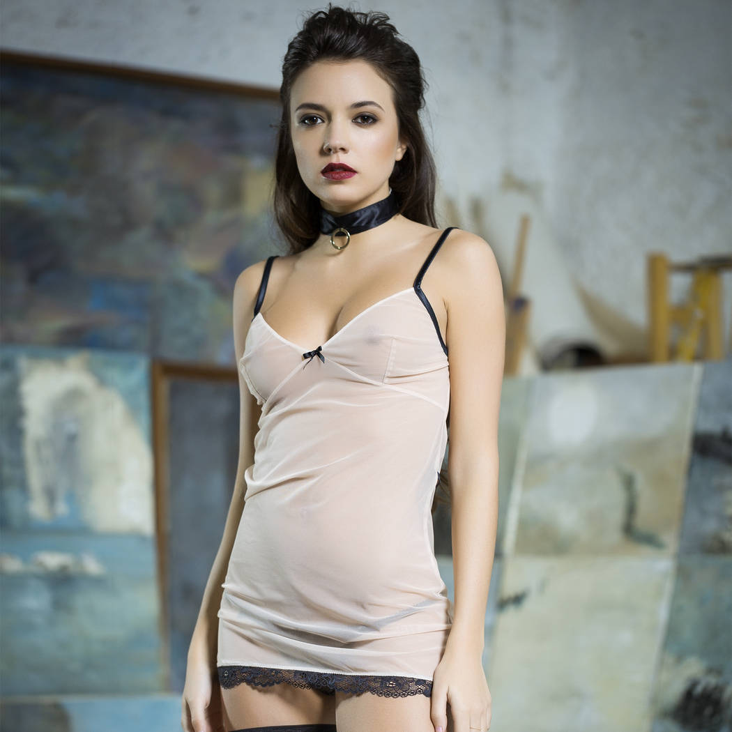 LES JUPONS DE TESS Babydoll Bridget Nude/Noir