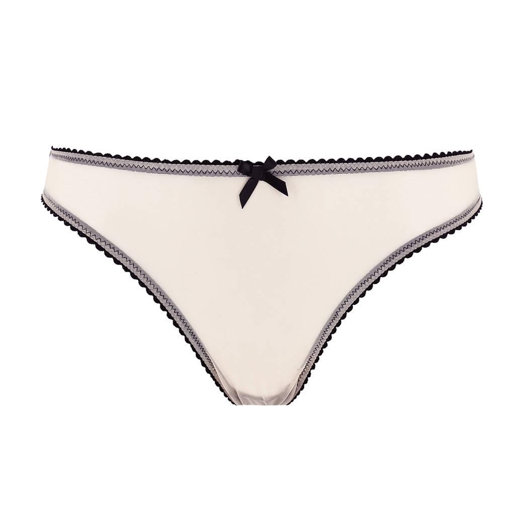 LES JUPONS DE TESS Slip ouvert Bridget Nude/Noir