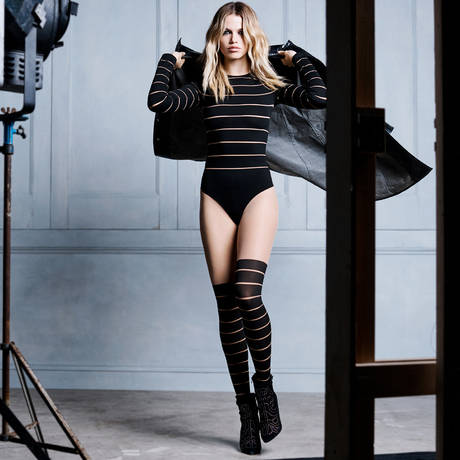WOLFORD Collant rayures opaques Grace Gobi/Noir