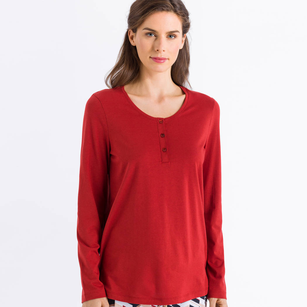 HANRO Top manches longues Sleep & Lounge Rusted Red