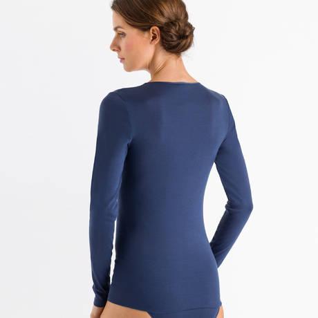 HANRO Top manches longues Cotton Seamless Horizon Blue