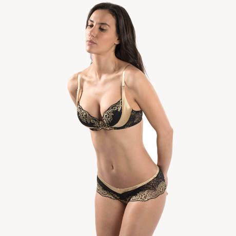 AUBADE Soutien-gorge push-up coussinets Femme Glamour Or Noir