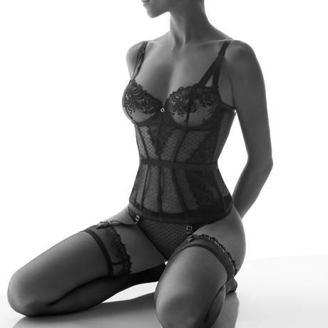 AUBADE Bas autofixant 30 deniers Femme Passion Noir