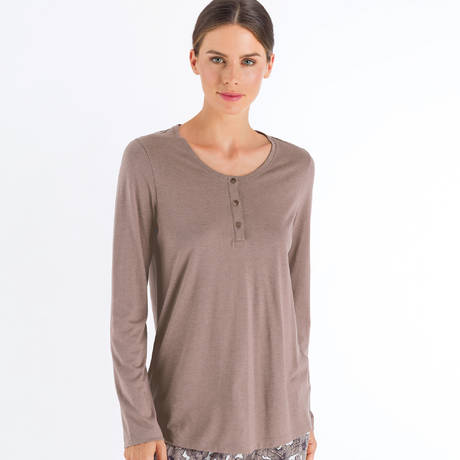 HANRO Top manches longues en coton Sleep & Lounge Orchid