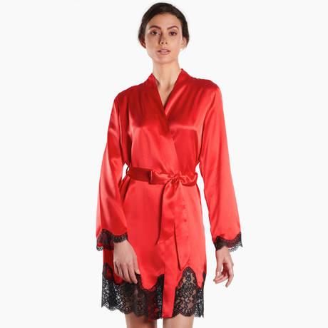 AUBADE Kimono en soie Soie d'Amour Rouge Passion