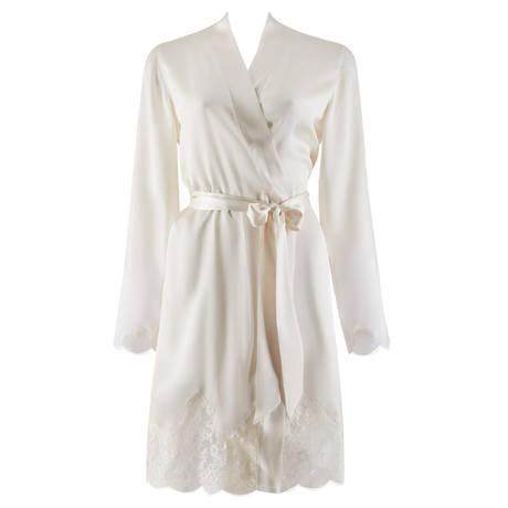 AUBADE Kimono en soie Soie d'Amour Nacre