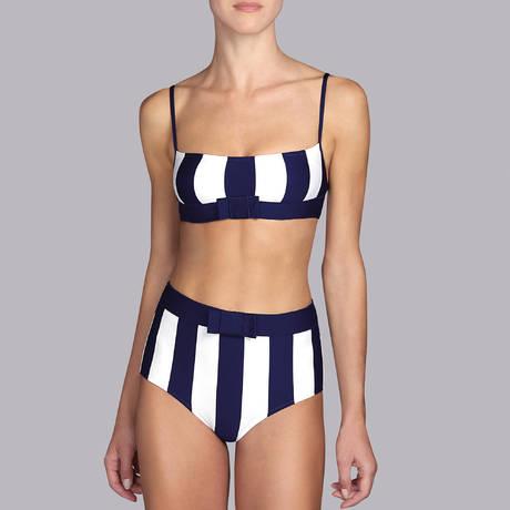 ANDRES SARDA Maillot de bain culotte haute Azura Bleu Marine/Blanc