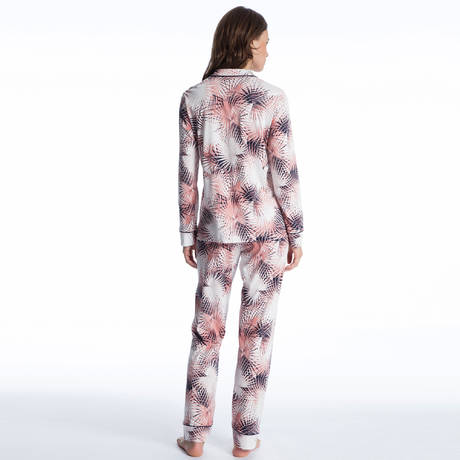 CALIDA Pyjama Cosy Flowers Black Iris Blue
