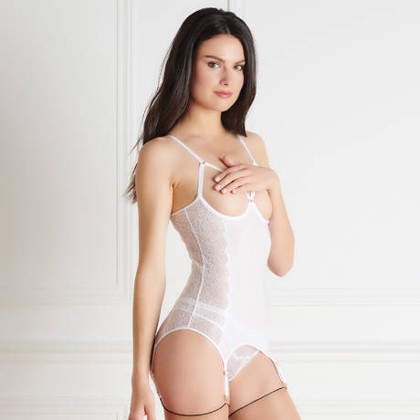 MAISON CLOSE Guêpière seins nus La Directrice Blanc