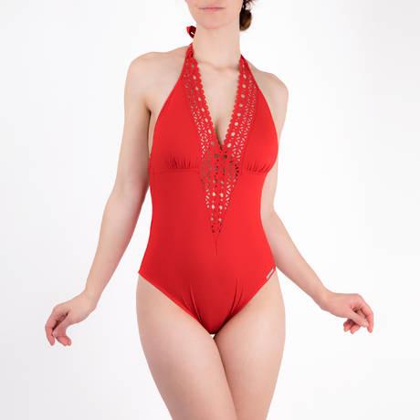 LISE CHARMEL Maillot de bain 1 pièce nageur séduction dos plongeant Ajourage Couture Ajourage Carmin