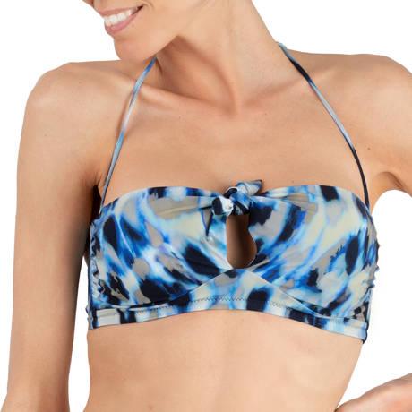 PAIN DE SUCRE Maillot de bain bandeau Cassy Blues Leopard Bleu
