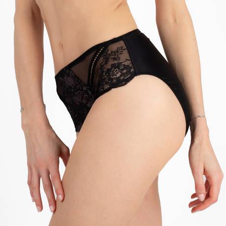 LISE CHARMEL Culotte haute Résille Lotus Noir Lilas