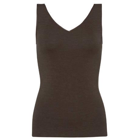 HANRO Débardeur en laine et soie Woolen silk Elephant Grey
