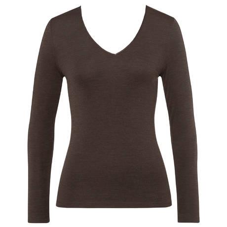 HANRO Top manches longues en laine et soie Woolen silk Elephant Grey