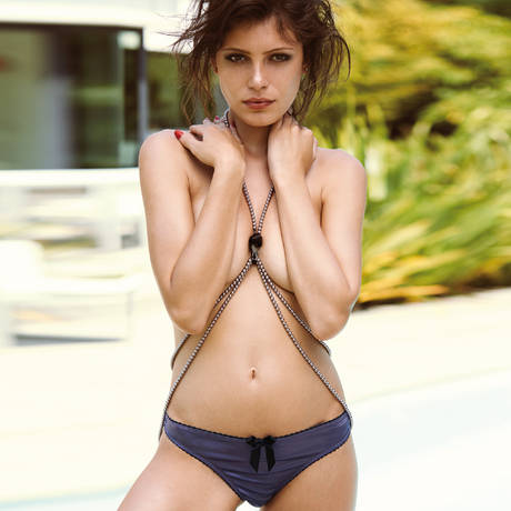Culotte ouverte LJT Adriana Mauve/Noir