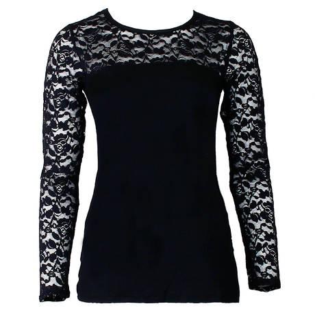 Tee-shirt manches longues Dentelle Forever Noir