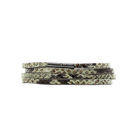 Bracelet cuir multirangs Serpent