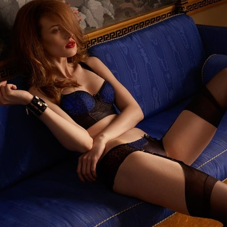 Culotte porte-jarretelles Anatolia Noir/Bleu