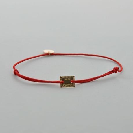 Bracelet cordon rouge Petit Brin Slim doré