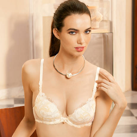 Soutien-gorge push-up Vibration Guipure Nacre/Or