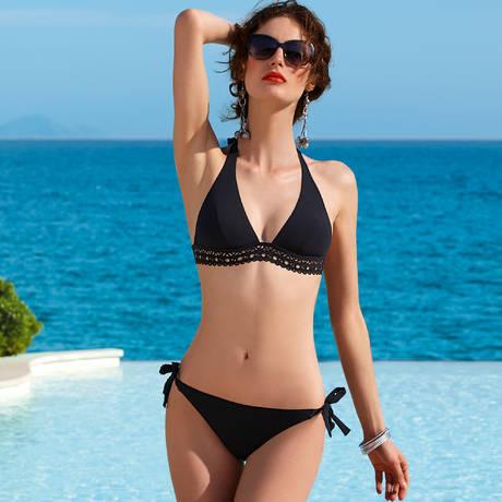 Maillot de bain triangle Ajourage Couture Noir