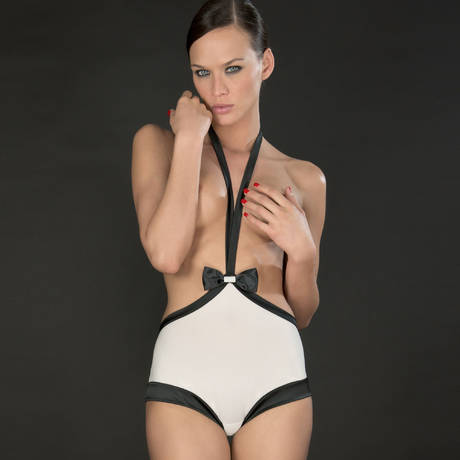 Shorty taille haute harnais Cabaret Smoking Blanc/Noir