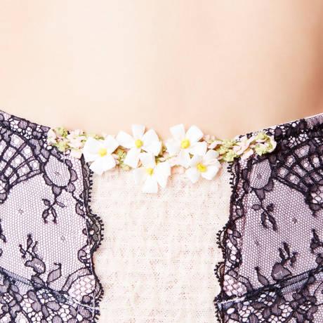 Serre-taille porte-jarretelles Confidente Noir/Rose