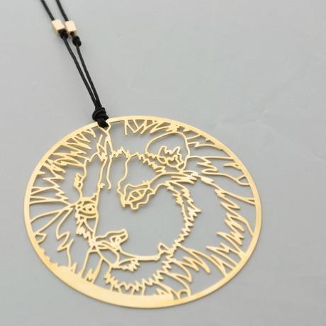 Sautoir cordon Lion Kenya doré