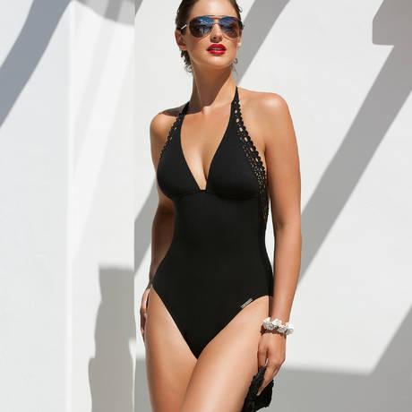 Maillot de bain 1 pièce nageur séduction Ajourage Couture Noir