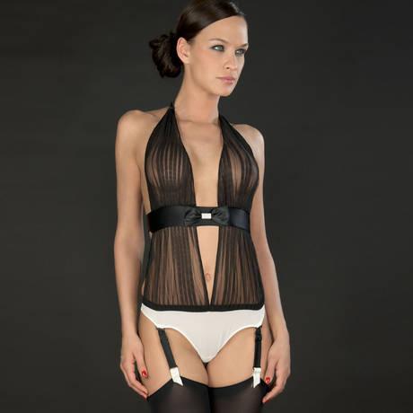 Body string drapé porte-jarretelle Cabaret Smoking Blanc/Noir