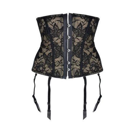 Galbe-taille porte-jarretelles Transparence Désir Noir