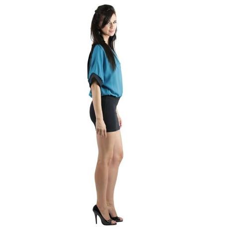 Quontum Drape back dress Noir/Bleu