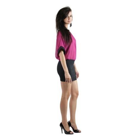 Quontum Drape back dress Noir/Magenta