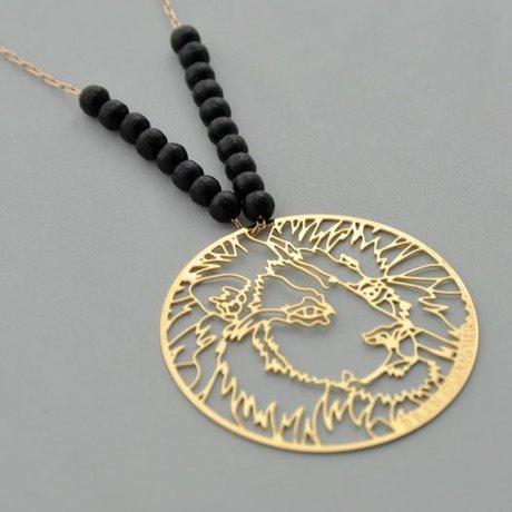 Collier Lion Kenya doré