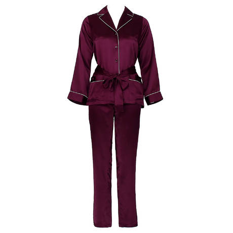 Pyjama Soie Unie bicolore Rosier/Naturel