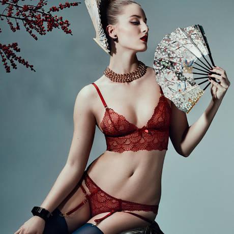 Culotte ouverte porte-jarretelles Sensu Rouge