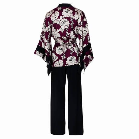 Pyjama en soie Beijing Bordeaux/Nacre