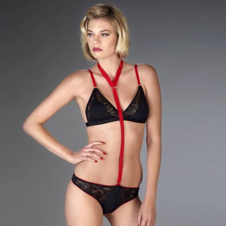 String harnais Armée des Sens Noir/Rouge
