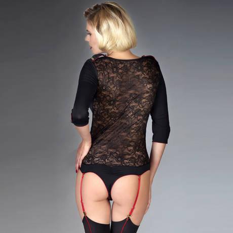 Body string porte-jarretelles Armée des Sens Noir/Rouge