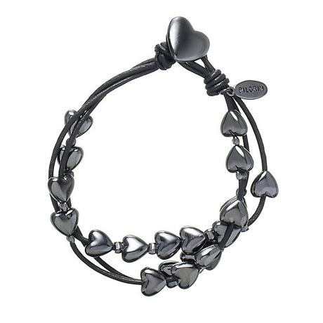 Bracelet multirangs cordon et coeur Noir