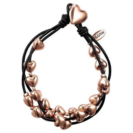 Bracelet multirangs cordon et coeur Or rose