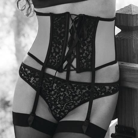 Serre-taille porte-jarretelles Astrid Noir/Beige