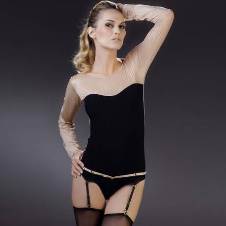Body culotte manches longues porte-jarretelles La Cavalière Noir/Rose Pâle