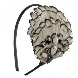 Serre-t�te bijou en v�ritables plumes Tina Barrat Sumare